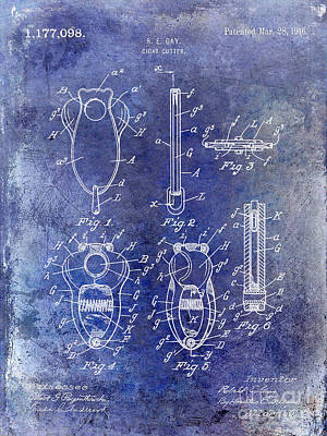 1800 Photograph - Cigar Cutter Patent 1916 Blue by Jon Neidert
