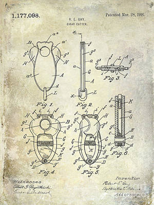 Cigar Cutter Patent 1916 Art Print by Jon Neidert
