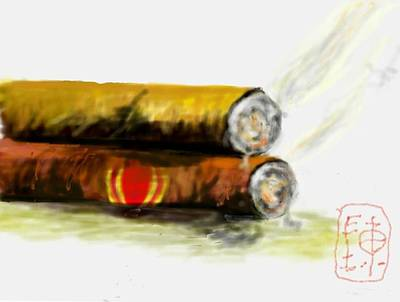 Digital Art - Cigar Lovers by Debbi Saccomanno Chan