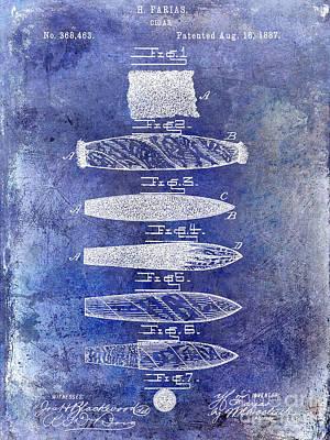 1800 Photograph - Cigar Patent 1887 Blue by Jon Neidert