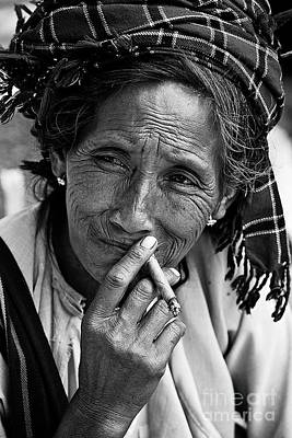 Photograph - Cigar Smoking Shan Woman - Burma by Craig Lovell