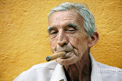 Tobacco Photograph - Cigar Smoking - Trinidad - Cuba by Rod McLean
