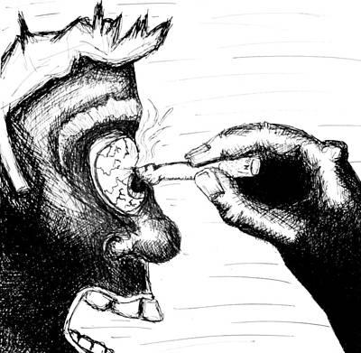 Disturbing Drawing - Cigarette Burn by Jera Sky