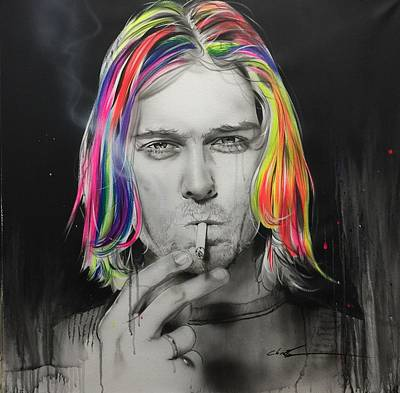 Kurt Cobain - ' Cigarette Burns ' Art Print by Christian Chapman Art