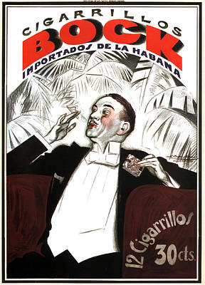 Mixed Media - Cigarrillos Bock - Cuban Cigar - Vintage Advertising Poster by Studio Grafiikka