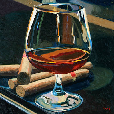 Wine Glass Painting - Cigars And Brandy by Christopher Mize