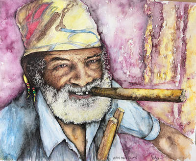 Drawing - Cigars And Cuba by Victor Minca