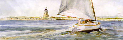 Painting - Cimba At Bird Island Light by P Anthony Visco