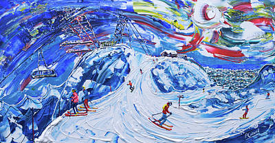 Painting - Cime Carron Val Thorens by Pete Caswell