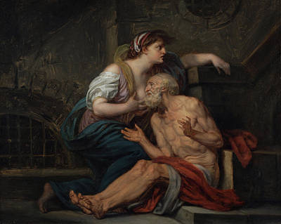 Parable Painting - Cimon And Pero - Roman Charity by Jean-Baptiste Greuze
