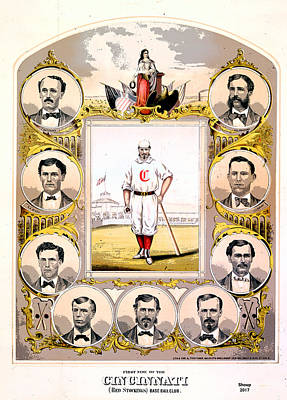 Mixed Media - Cincinnati Base Ball Club by Charles Shoup
