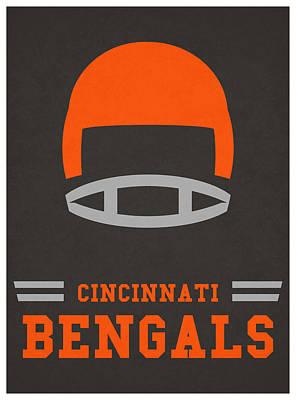 Mixed Media - Cincinnati Bengals Vintage Nfl Art by Joe Hamilton