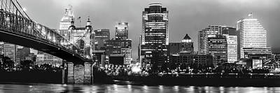 Photograph - Cincinnati Black And White Night Panorama Skyline by Gregory Ballos