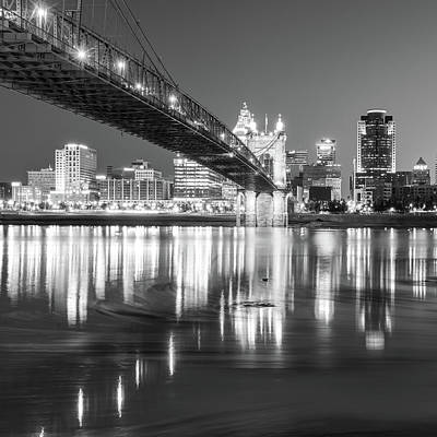 Photograph - Cincinnati Bridge And Skyline At Dawn - Square Format - Black And White by Gregory Ballos