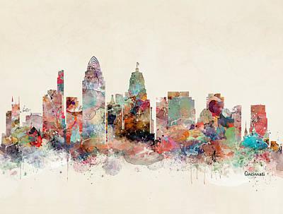 Cincinnati Ohio Painting - Cincinnati City Skyline by Bleu Bri