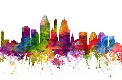 Cincinnati Ohio Painting - Cincinnati Cityscape 06 by Aged Pixel