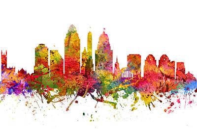 Cincinnati Ohio Painting - Cincinnati Cityscape 08 by Aged Pixel
