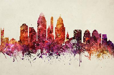 Cincinnati Ohio Painting - Cincinnati Cityscape 09 by Aged Pixel