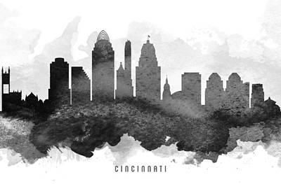 Cincinnati Ohio Painting - Cincinnati Cityscape 11 by Aged Pixel