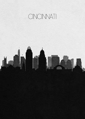 Drawing - Cincinnati Cityscape Art by Inspirowl Design