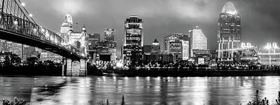 Photograph - Cincinnati Downtown Skyline Panorama Black And White by Gregory Ballos