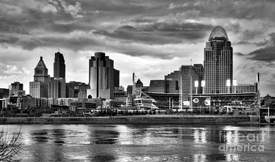 White River Scene Photograph - Cincinnati Evening Home Game Black And White by Mel Steinhauer