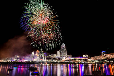 Photograph - Cincinnati Fireworks by Keith Allen