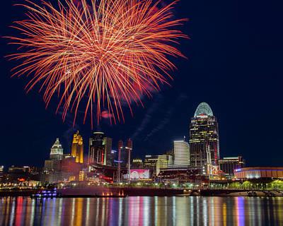 Photograph - Cincinnati Fireworks by Scott Meyer