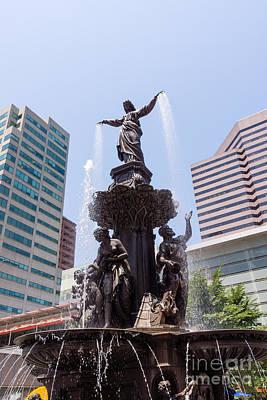 Bronze Photograph - Cincinnati Fountain Tyler Davidson Genius Of Water by Paul Velgos