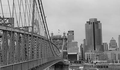 Photograph - Cincinnati From Suspension Bridge by Dan Sproul