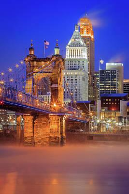 Photograph - Cincinnati In Blue by Keith Allen