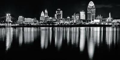 Photograph - Cincinnati In Charcoal Panoramic by Frozen in Time Fine Art Photography