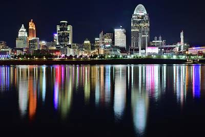 Photograph - Cincinnati Late Night Lights by Frozen in Time Fine Art Photography