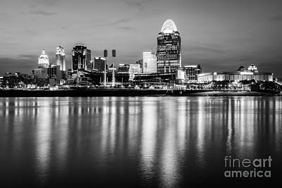 Cincinnati Night Skyline Black And White Photo Art Print