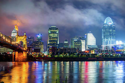Photograph - Cincinnati Night Skyline Cityscape Downtown by Gregory Ballos