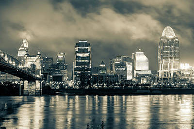 Photograph - Cincinnati Night Skyline Cityscape Downtown Sepia by Gregory Ballos