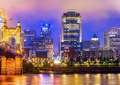 Photograph - Cincinnati Ohio At Night by Gregory Ballos