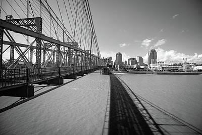Photograph - Cincinnati Ohio Beyond The John Roebling Bridge - Black And White by Gregory Ballos