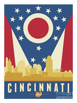 Roebling Bridge Digital Art - Cincinnati - Ohio Burgee by Buckland Gillespie