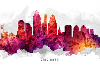 Cincinnati Ohio Painting - Cincinnati Ohio Cityscape 14 by Aged Pixel