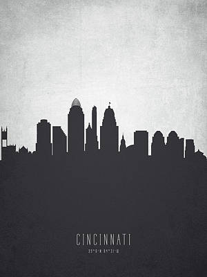 Ohio Painting - Cincinnati Ohio Cityscape 19 by Aged Pixel