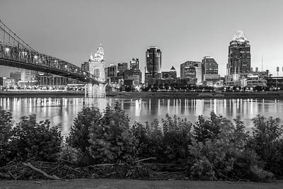 Photograph - Cincinnati Ohio Downtown Skyline - City In Black And White by Gregory Ballos
