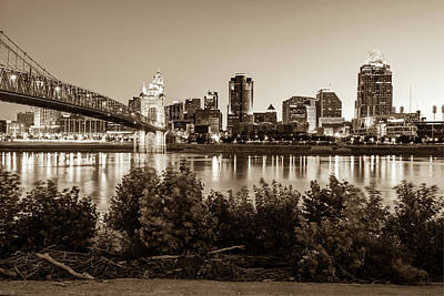 Photograph - Cincinnati Ohio Downtown Skyline - City In Sepia by Gregory Ballos