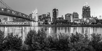 Photograph - Cincinnati Ohio Downtown Skyline Panoramic Print - Black And White by Gregory Ballos
