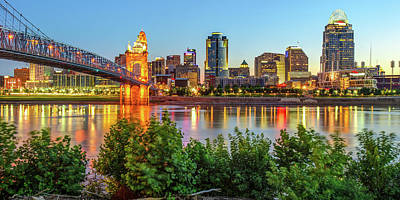 Photograph - Cincinnati Ohio Downtown Skyline Panoramic Print - Color by Gregory Ballos