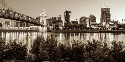 Photograph - Cincinnati Ohio Downtown Skyline Panoramic Print - Sepia by Gregory Ballos