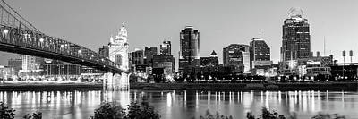 Photograph - Cincinnati Ohio Evening Skyline Panorama In Black And White by Gregory Ballos