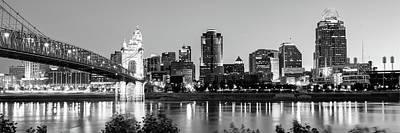 Photograph - Cincinnati Ohio Evening Skyline Panorama In Black And White by Gregory Ballos