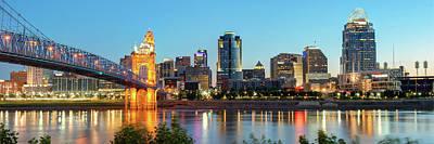 Photograph - Cincinnati Ohio Evening Skyline Panorama In Color by Gregory Ballos
