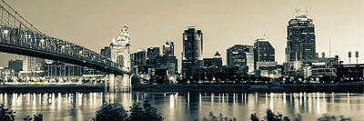 Photograph - Cincinnati Ohio Evening Skyline Panorama In Sepia by Gregory Ballos